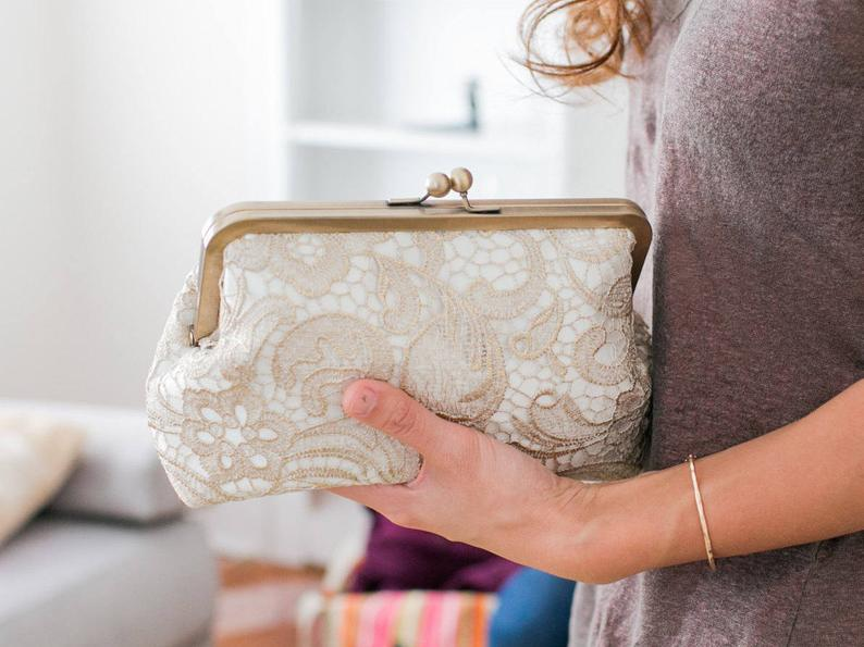 Gold Lace Clutch