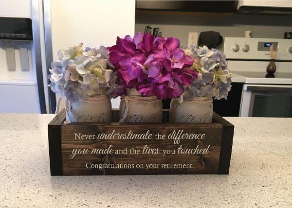 Rustic Planter Box with 3 Mason Jars