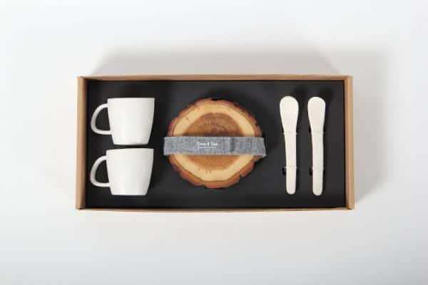 Wood Coasters and Ceramic Mugs